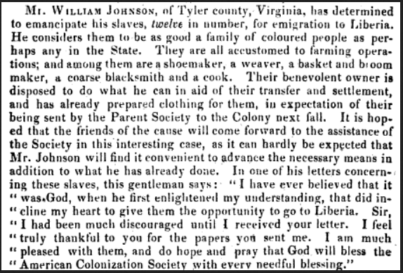 West Virginia slaves for settlement in Liberia 1837.png