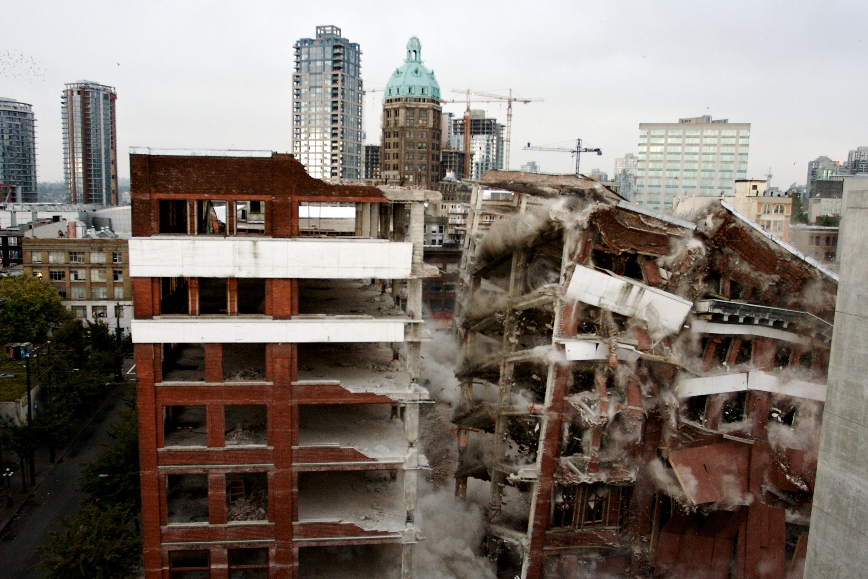 Building Demolition With Explosives : File woodwards building vancouver demolition g
