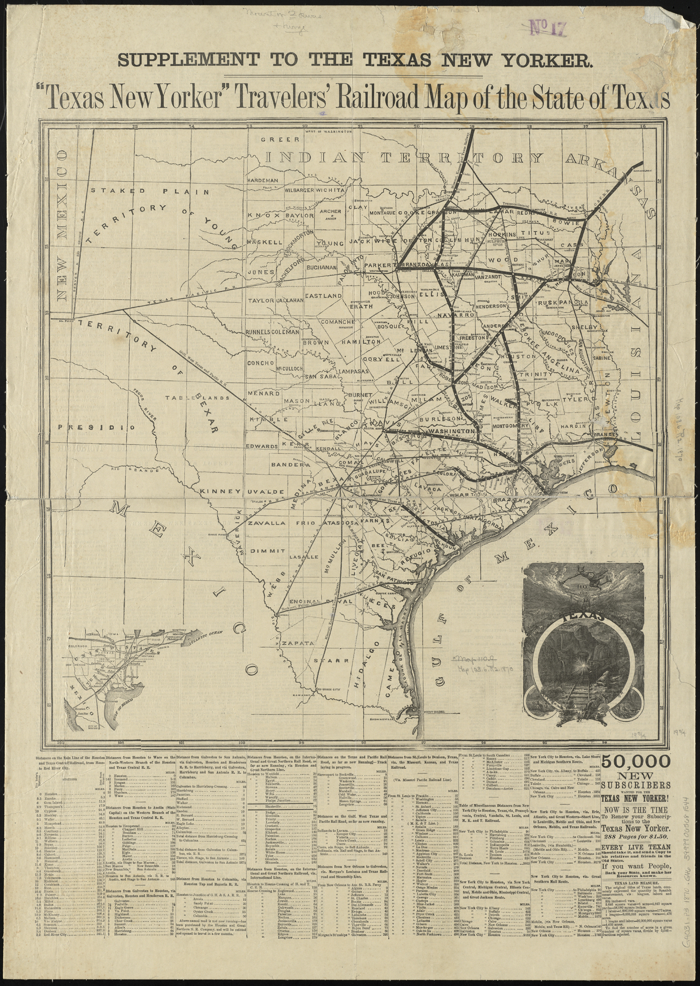 1870 Map Of Texas.File Texas New Yorker Travelers Railroad Map Of The State Of