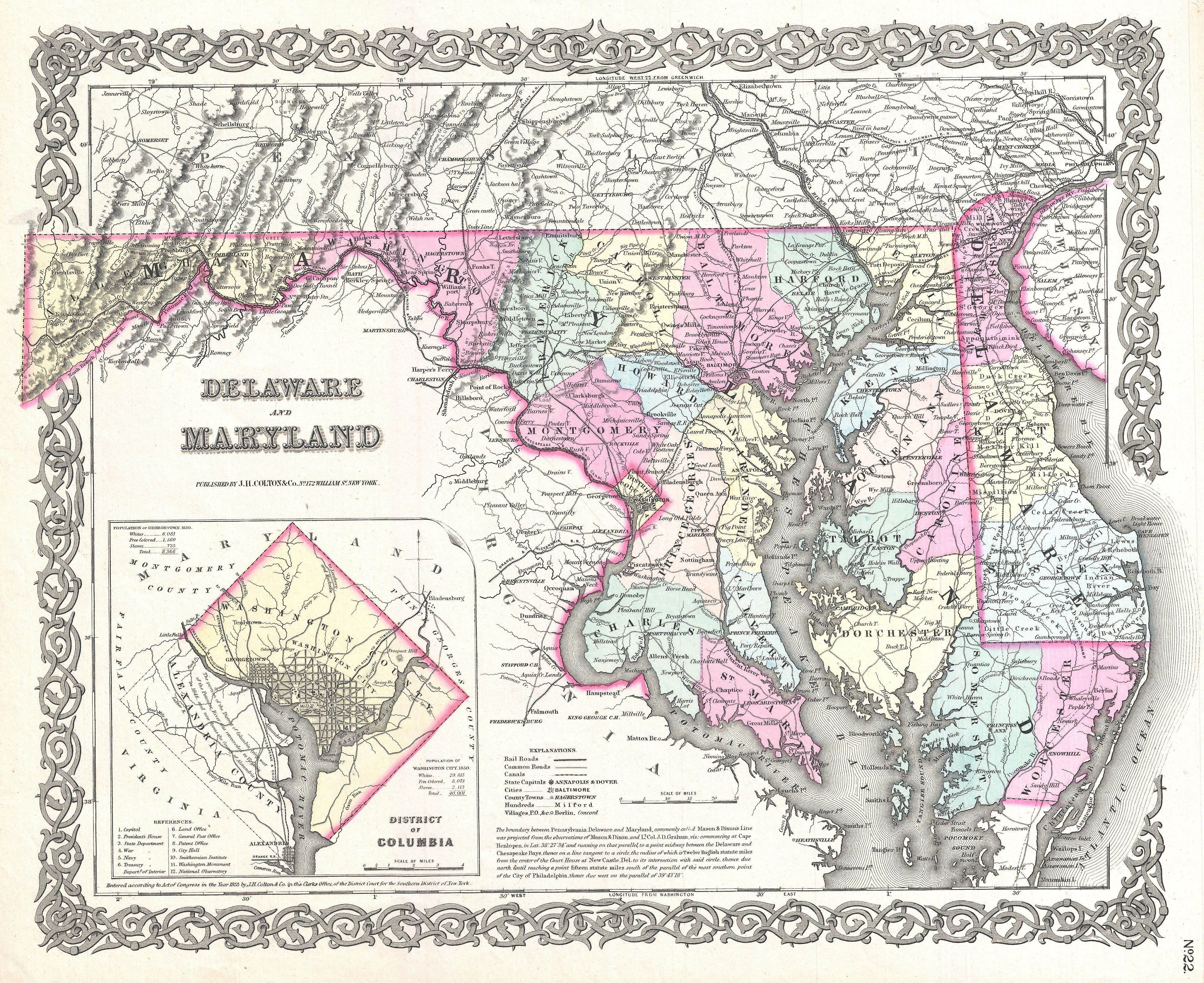 File:1855 Colton Map of Delaware, Maryland, and District of Columbia ...