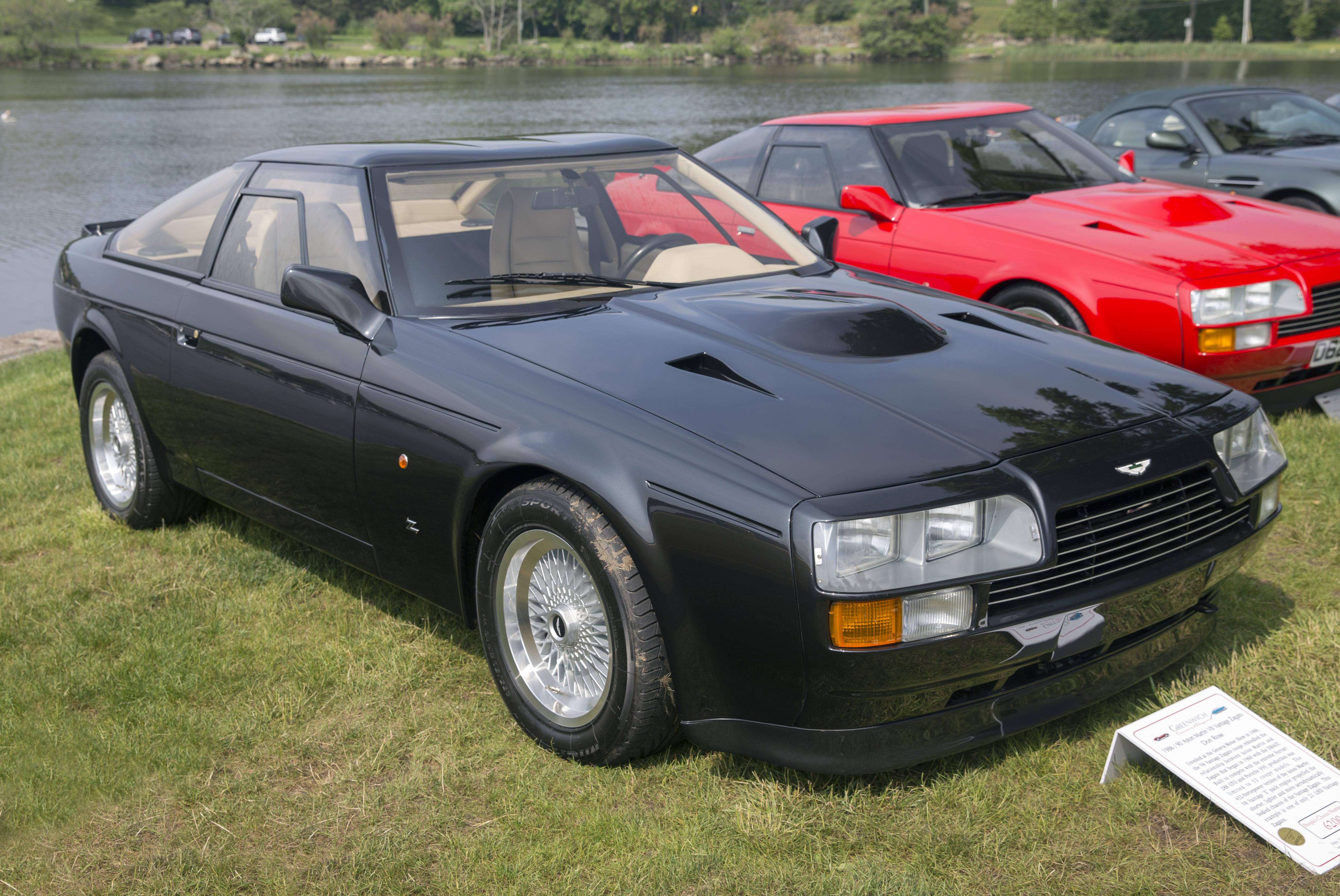 File 1987 And 1991 Aston Martin V8 Vantage Zagato 20043 Front Right Greenwich 2019 Jpg Wikimedia Commons