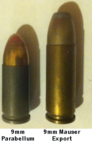 9×19mm Parabellum (left) and 9mm Mauser Export (right) cartridges for comparison