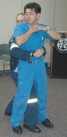 A demonstration of abdominal thrusts