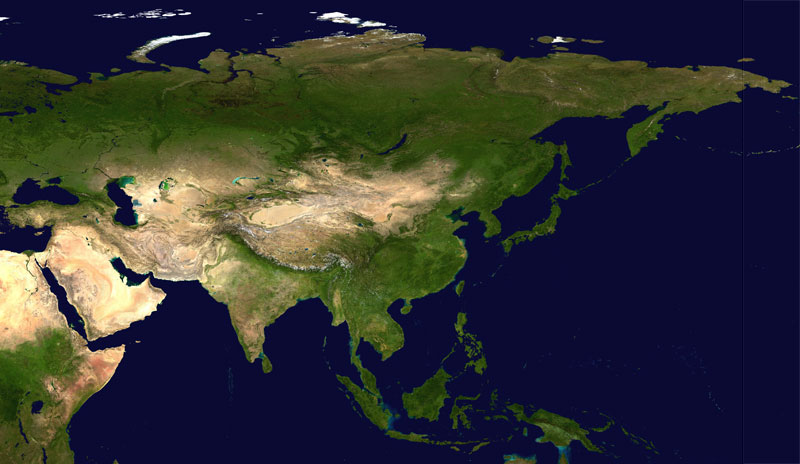 Satellite Image of Asia