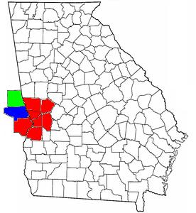 Location of the Columbus, Georgia–Auburn, Alabama CSA and its counties: Columbus, Georgia Metropolitan Statistical Area Auburn-Opelika, Alabama Metropolitan Statistical Area Valley, Alabama Micropolitan Statistical Area