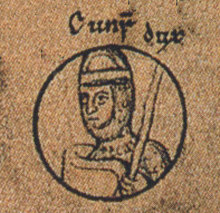 Conrad depicted as duke of Lower Lorraine (the caption reads Cunr[adus] dux) in a family tree of the Holy Roman Emperors from a late 12th-century manuscript Conrad II of Italy.jpg
