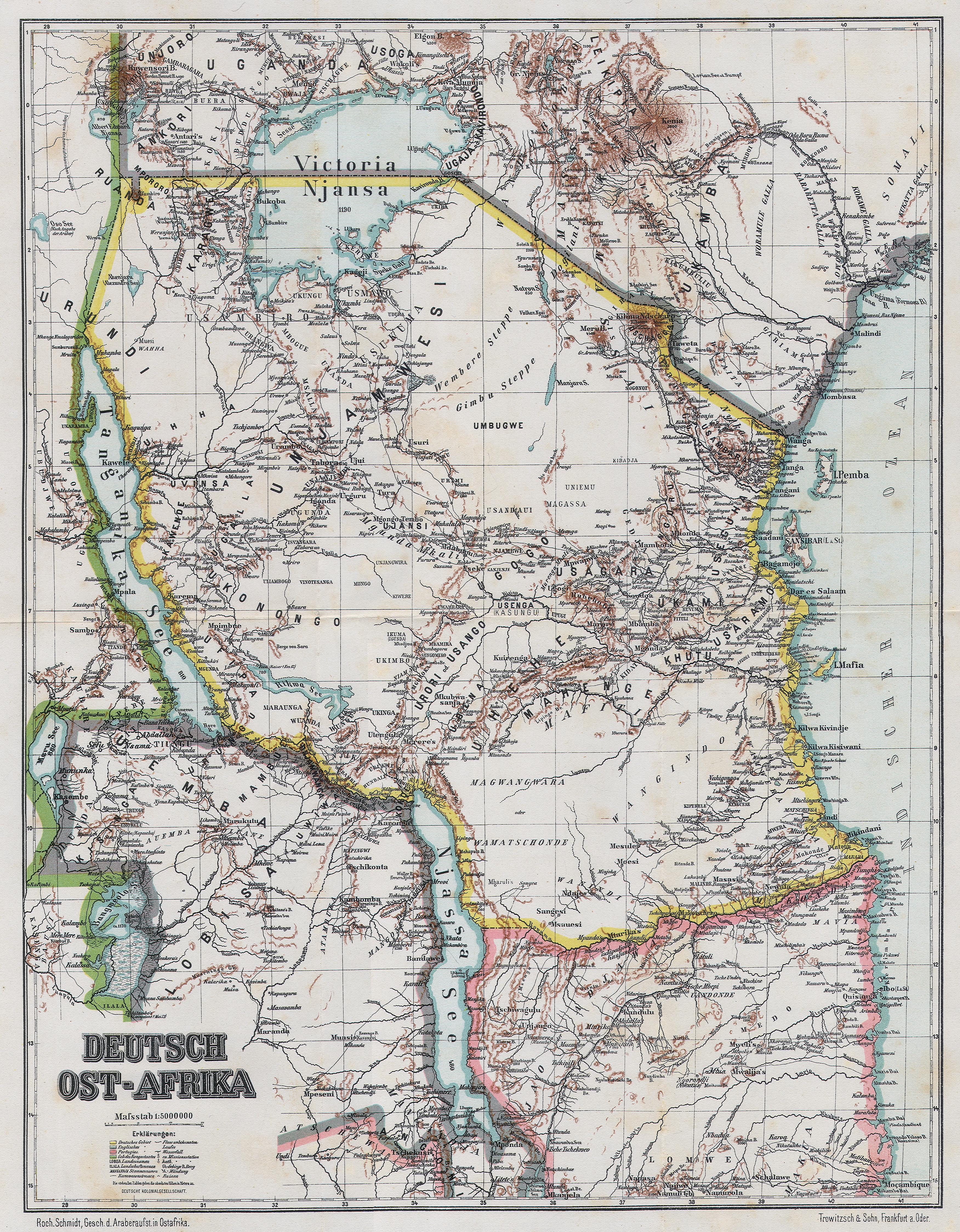 Ostafrika mit den kolonialen Grenzziehungen Karte von 1893