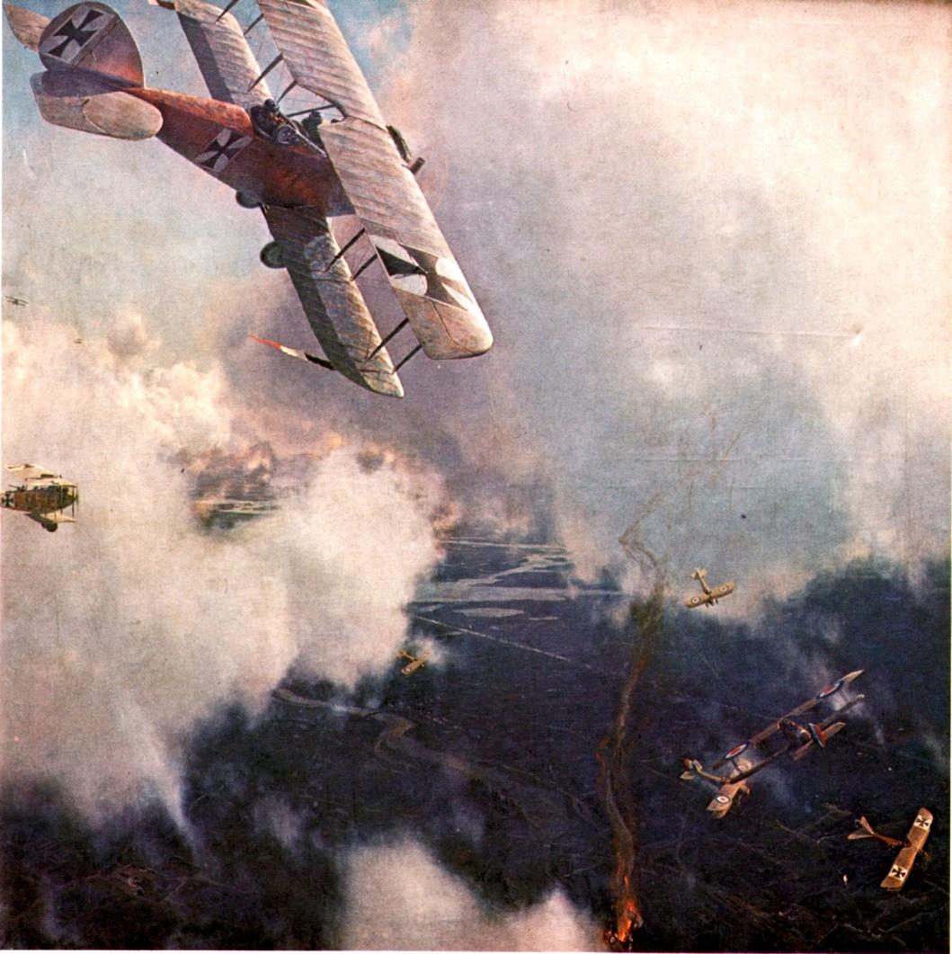 Luftkampf (Ölgemälde von Michael Zeno Diemer aus dem Jahre 1918): Deutscher Kampfzweisitzer vom Typ Albatros C.III kommt einem Kameraden (rechts unten) zu Hilfe, der nach dem Abschuss eines britischen Flugzeuges von englischen Maschinen (evtl. Martinsyde G.102) bedrängt wird.