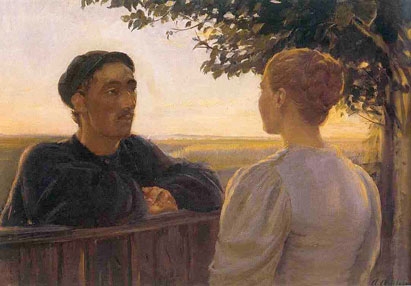 File:Evening Session at the Fence (Anna Ancher).jpg