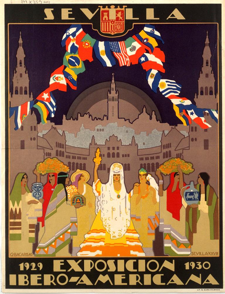 Affiche de l'exposition Ibéro-Américaine de Séville en 1929.