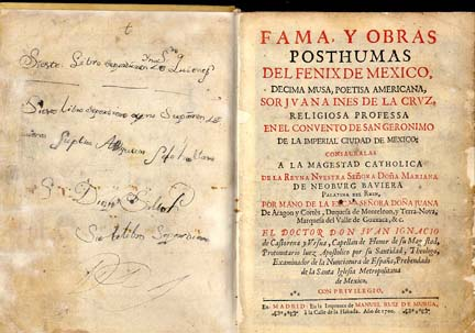 The first part of Sor Juana's complete works, Madrid, 1689. Public domain image courtesy of Wikimedia Commons