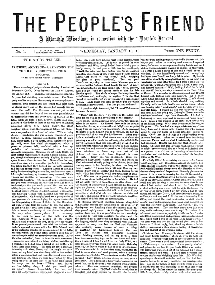 The first ever edition of The People's Friend, Jan 13, 1869