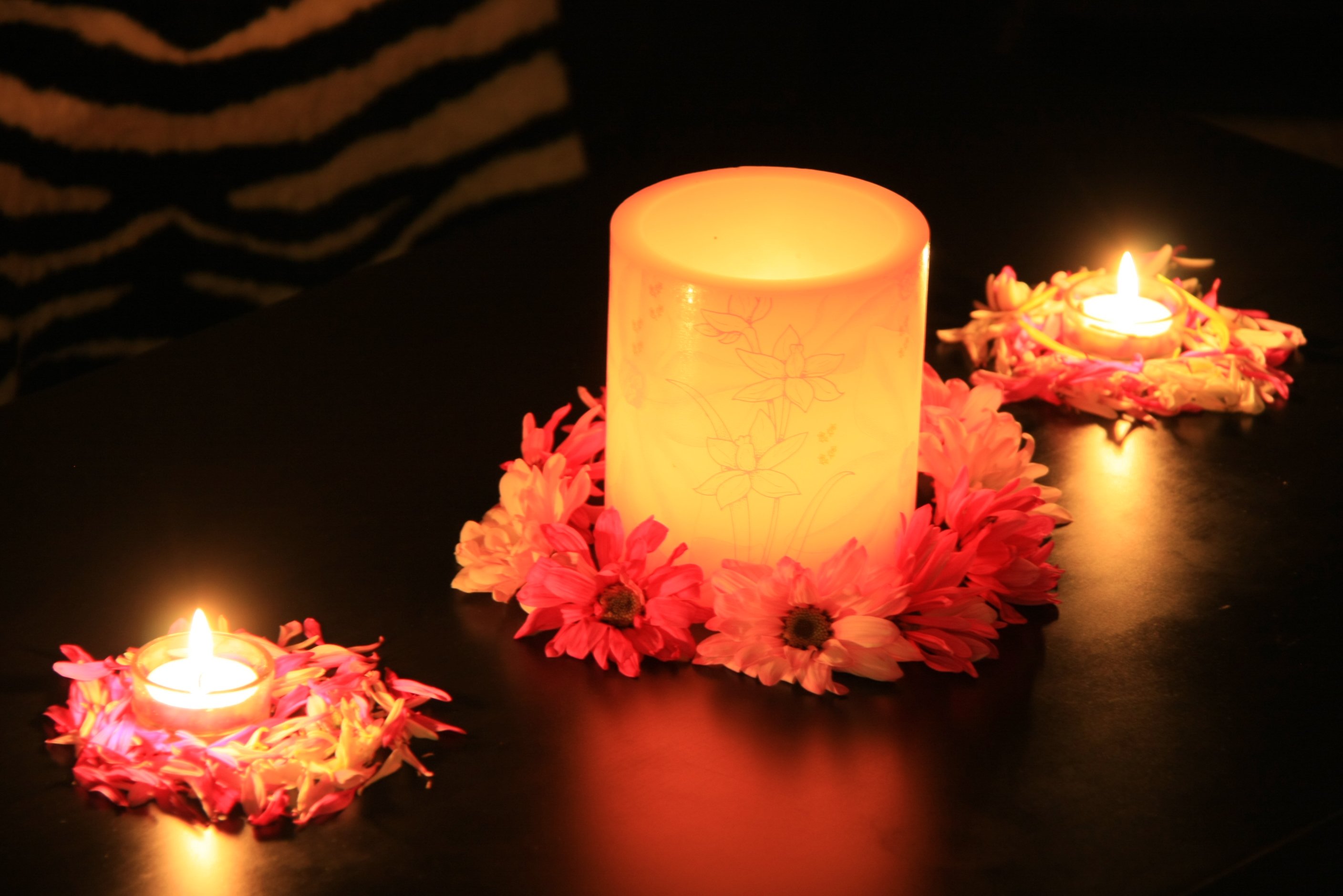File Flower Decor with Diwali Candles Wikimedia mons