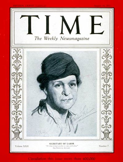 Frances Perkins on the cover of Time