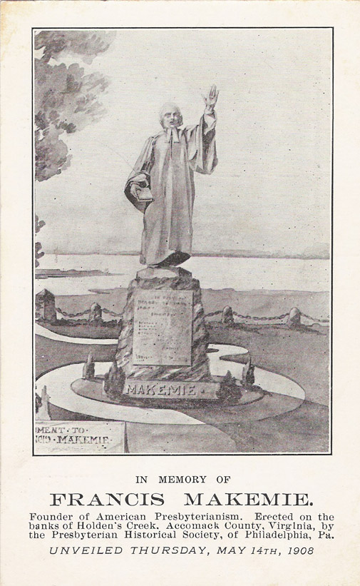 Statue of Makemie on the banks of [[Holden's Creek