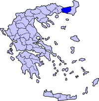 Location of Rhodope Prefecture in Greece
