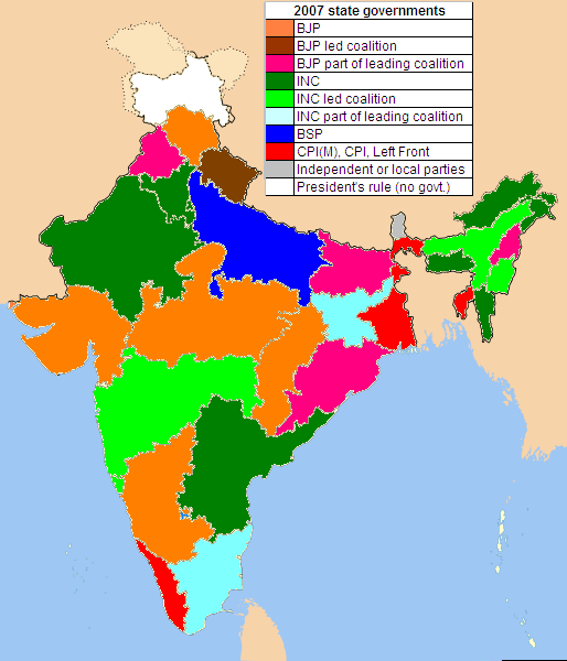 Political Parties By State Map.File Indian States By Political Parties Png Wikimedia Commons