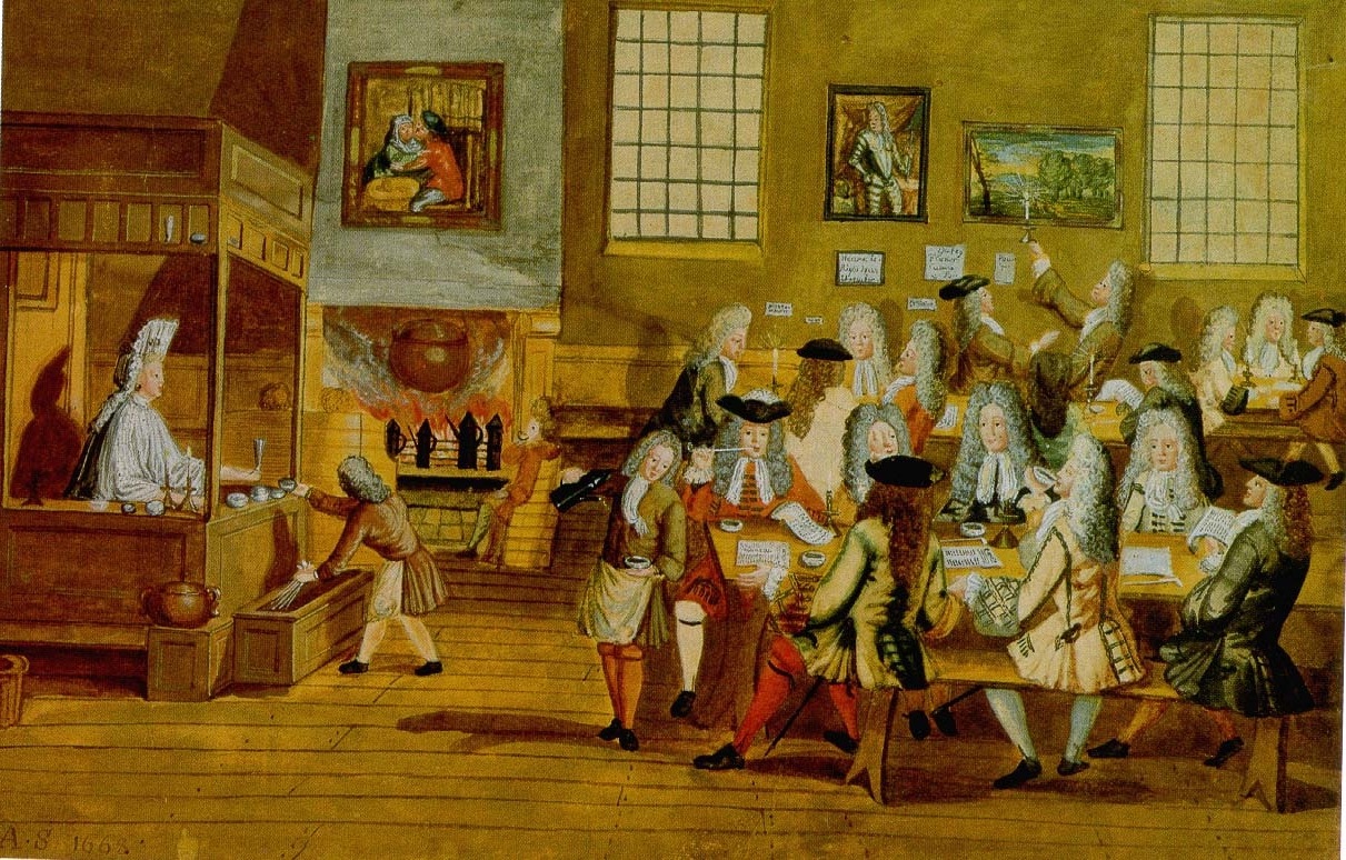 Interior of a London Coffee-house, 17th century | Source: http://commons.wikimedia.org/wiki/File:Interior_of_a_London_Coffee-house,_17th_century.JPG