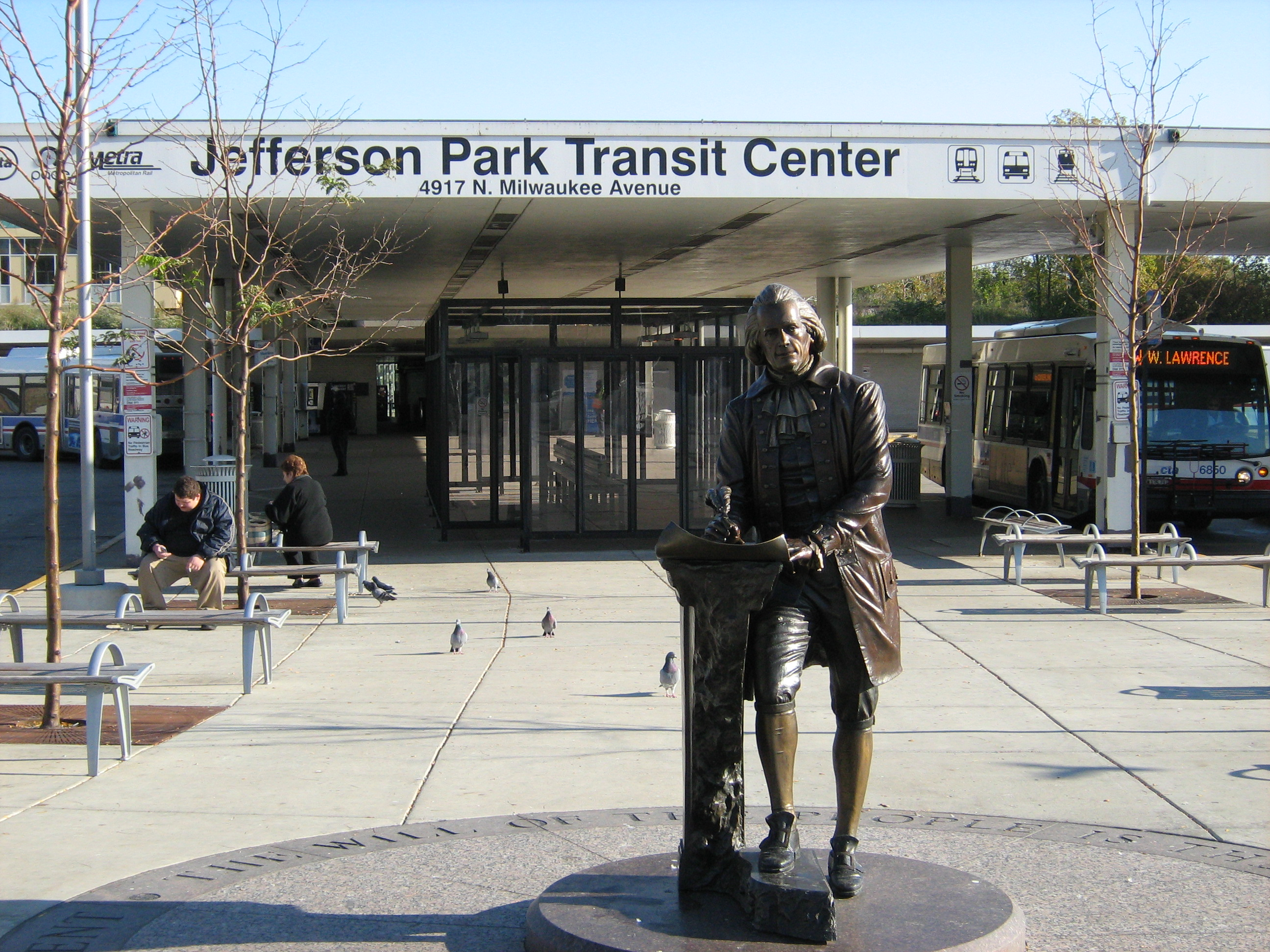 Monument of Thomas Jefferson in front of the Jefferson Park Transit Center