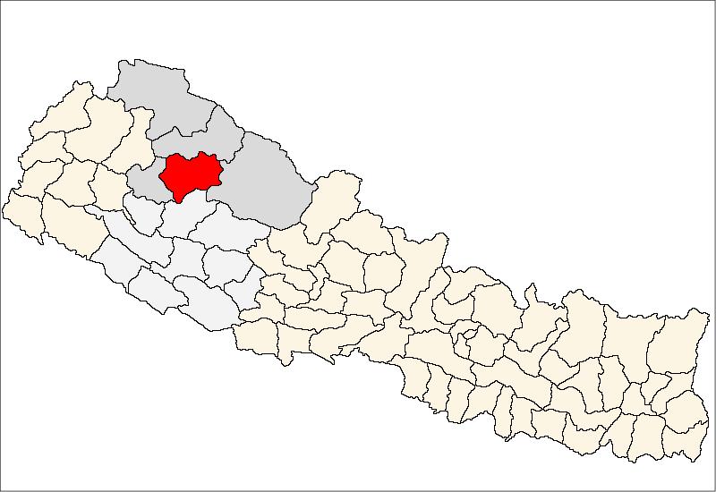 Lage des Distriktes Jumla (rot) in Nepal, die Verwaltungszone Karnali ist dunkelgrau, die Entwicklungsregion Mittelwest ist hellgrau markiert.