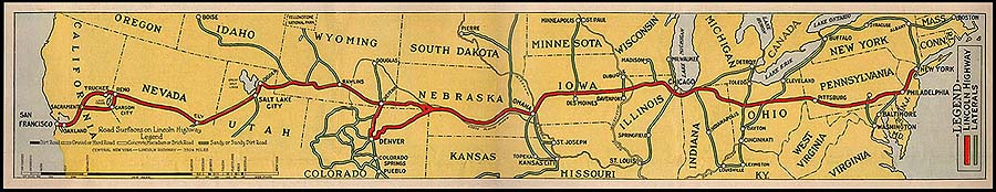 Route map of the Lincoln Highway