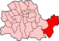 Metropolitan Borough of Woolwich shown within the County of London