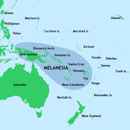 Map Of Melanesian Islands