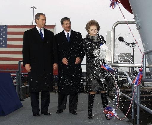 Nancy Reagan batipsed the USS Ronald Reagan
