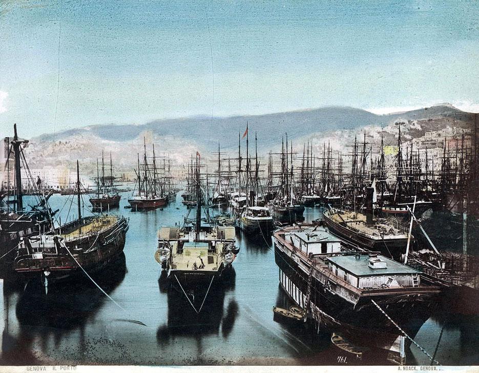 Vue sur les mats des voiliers du port de Gènes vers 1850. Photo d'Alfred Noack.