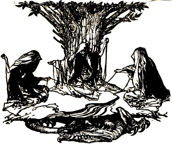 An image of the Norns, common fixtures in tales of weaving in mythology.