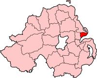 Kort med Carrickfergus i Nordirland