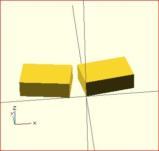 image of the result of the mirror() transformation in OpenSCAD