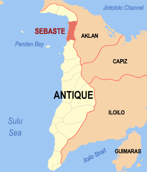Map of Antique showing the location of Sebaste