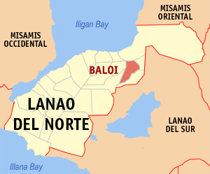 Map of Lanao del Norte showing the location of Baloi