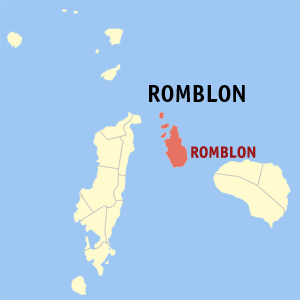 Map of Romblon showing the location of Romblon