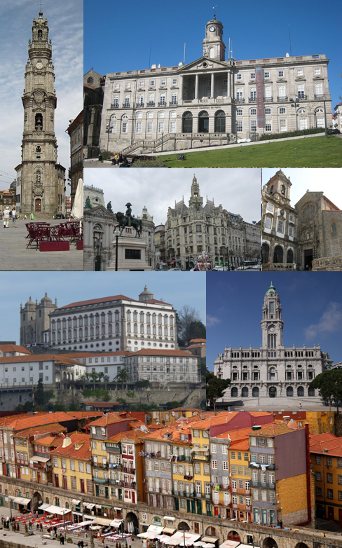 From the top left corner clockwise: Clérigos Tower; Palácio da Bolsa; Avenida dos Aliados; Church of São Francisco; Porto Cathedral; Porto City Hall; Ribeira