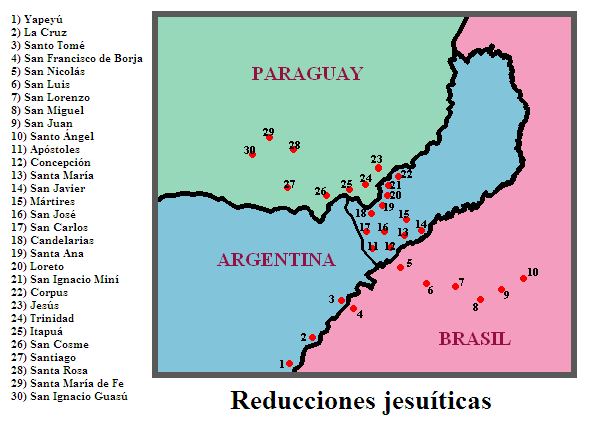 The Jesuit missions were concentrated in the modern border regions between Paraguay, Argentina, and Brazil. At the time, the entire area was ruled by the Viceroyalty of Peru. Reducciones.PNG