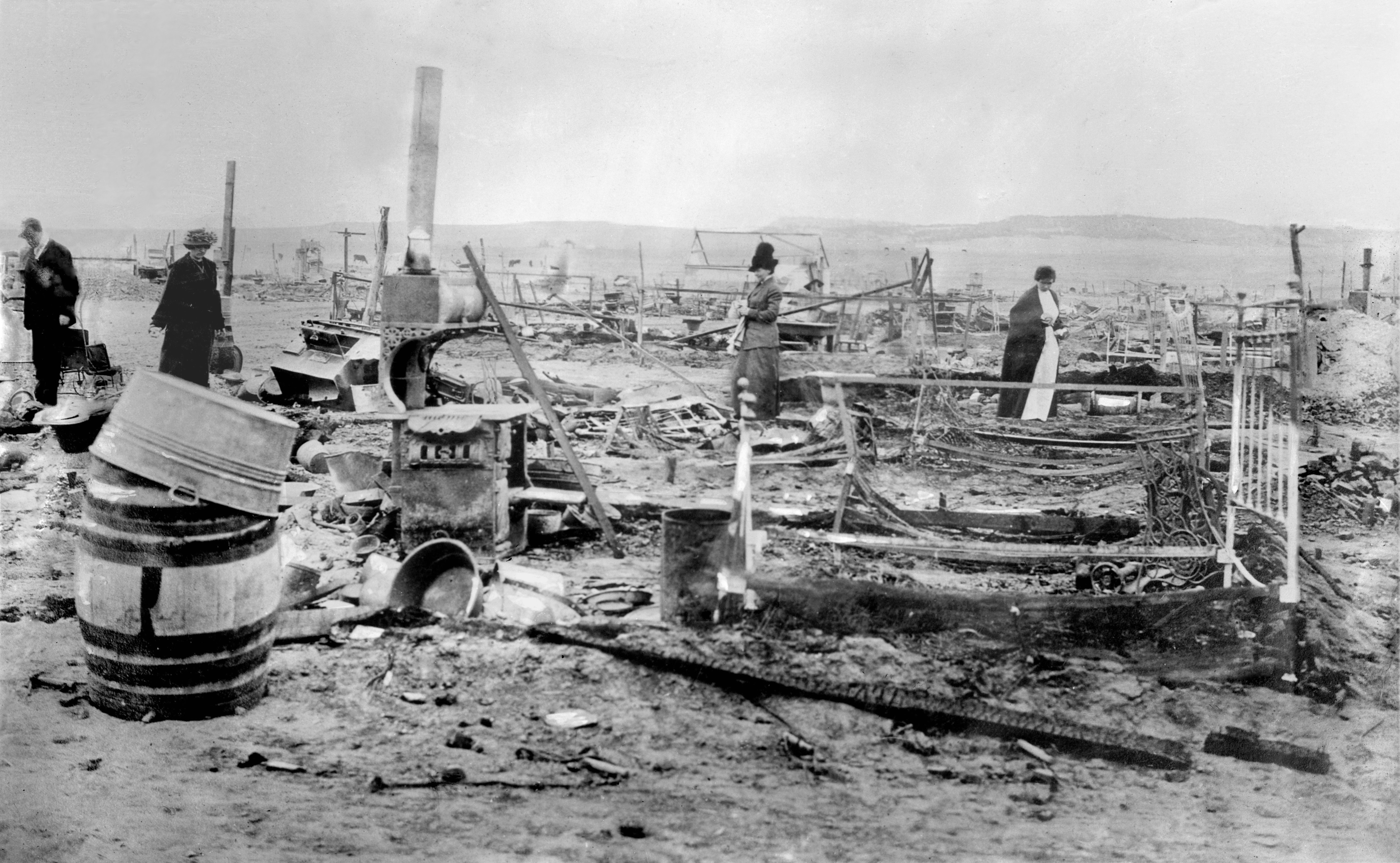 The aftermath of the Ludlow Massacre, when Colorado National Guardsmen attacked a camp of striking mine workers and their families, killing 19-25 people, including 2 women and 11 children; photo taken 21 April 1914