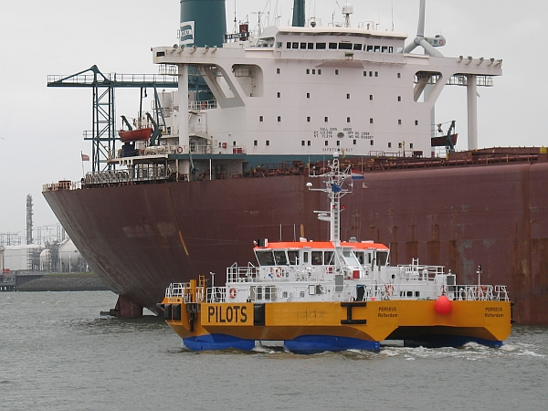 SWATH pilot boat and bulk carrier