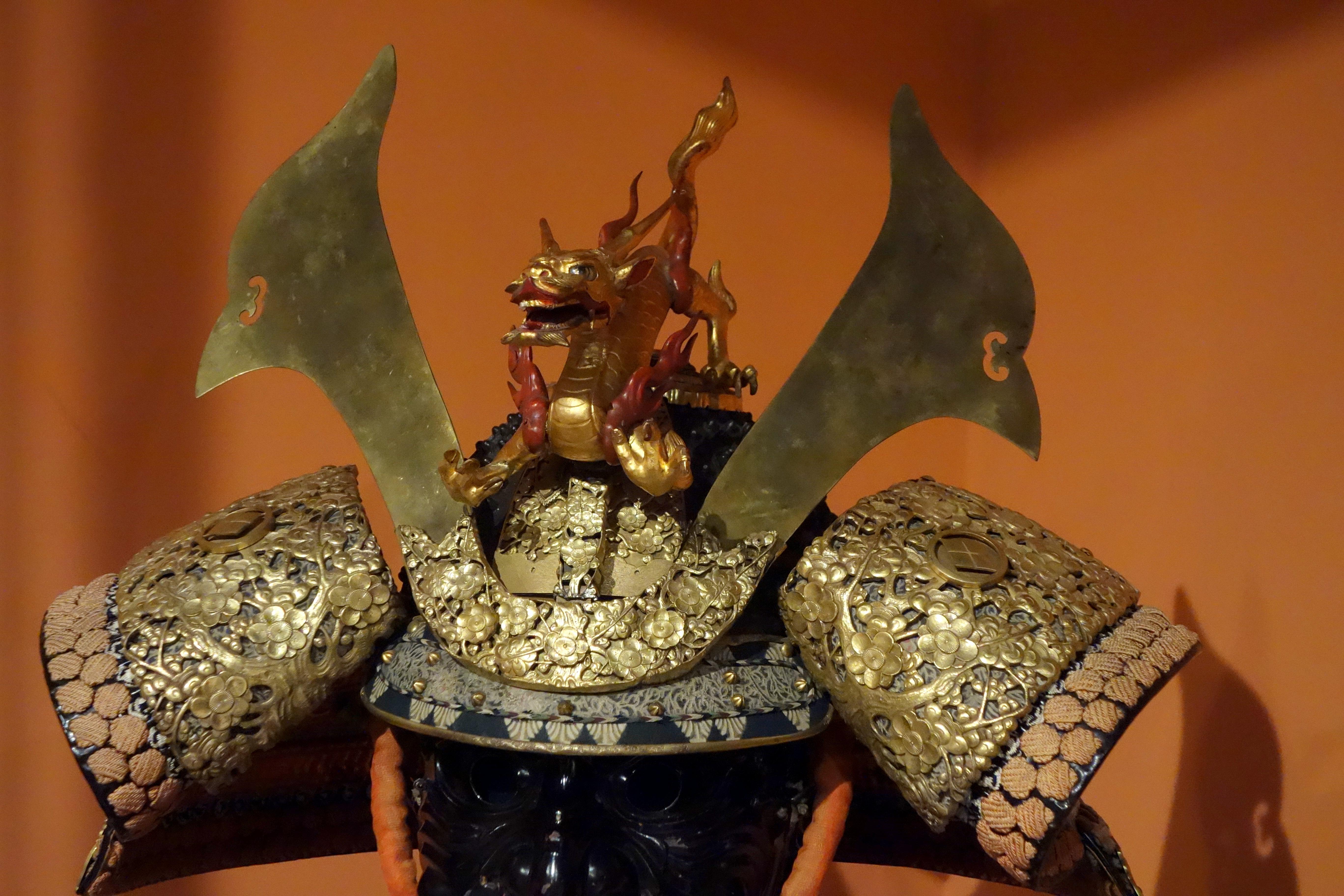 File Samurai Armor With Matsumae Family Crest Japan View 3 Helmet Glenbow Museum