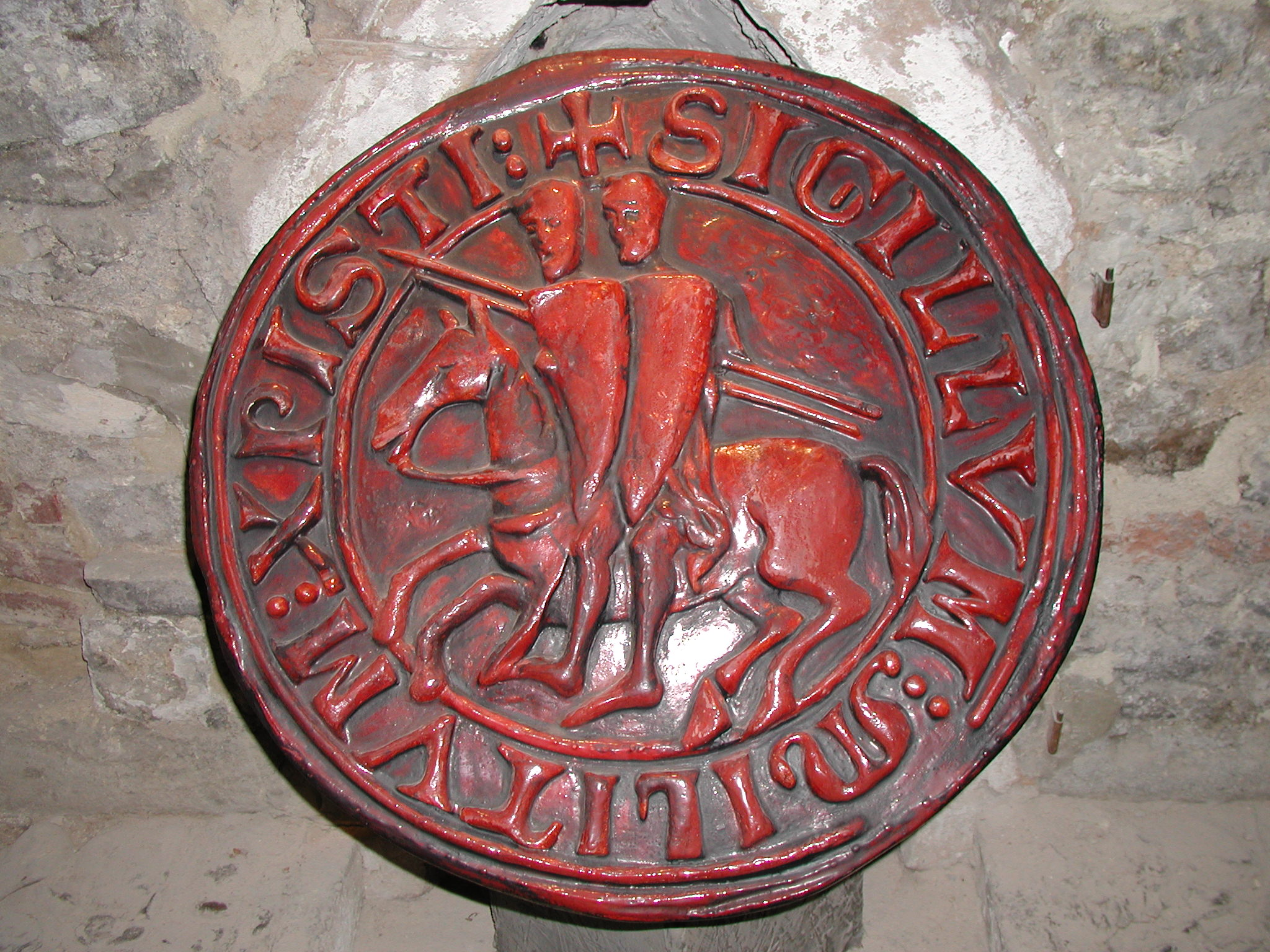 Copy of a seal of the Knights Templar in an exhibition in Prague.