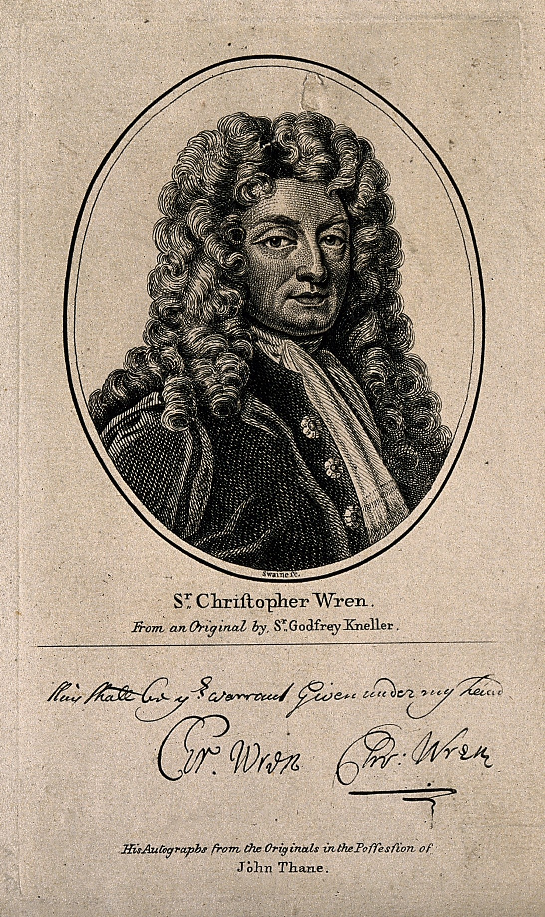File:Sir Christopher Wren. Line engraving after Sir G. Kneller, 1 ...