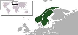 Geografisk placering af Förenade konungarikena Sverige och NorgeDe forenede Kongeriger Norge og Sverige
