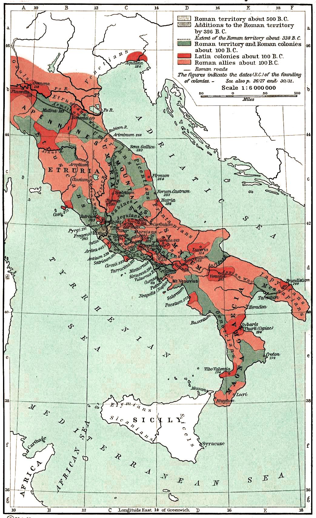 Územní rozložení spojenců Říma