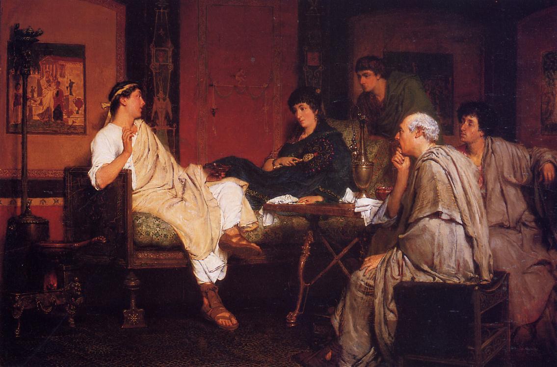 Lawrence Alma-Tadema, Tibullus at Delia's