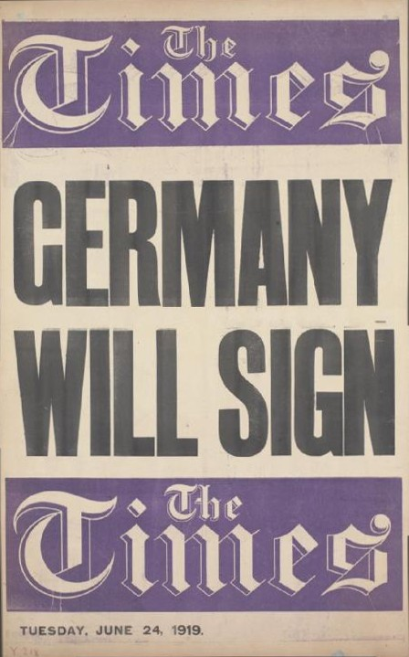 File:Times placard Germany will sign Versailles Treaty.jpg ...