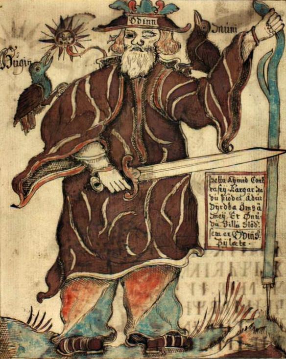 Odin turns to the ravens Hugin and Munin. Image of the 18th century Icelandic manuscript.