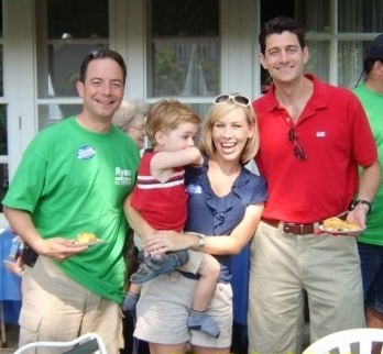 U.S. Republican Party of Wisconsin Chairman Reince Priebus, his wife Sally, and Congressman Paul Ryan in 2008