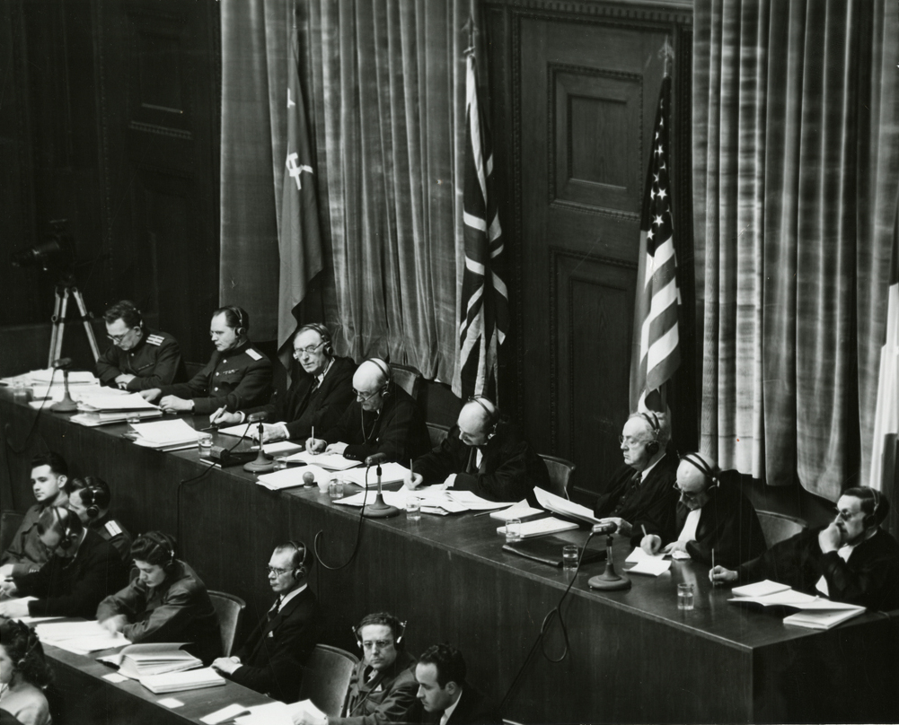 file view of judges panel during testimony nuremberg trials  file view of judges panel during testimony nuremberg trials 1945 jpeg
