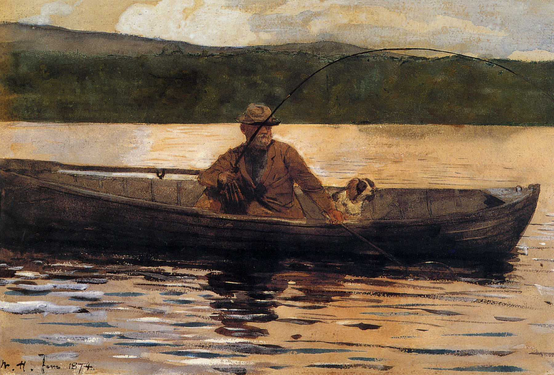 Omaž ribolovcu i ribolovu - Page 6 Winslow_Homer_-_The_painter_Eliphalet_Terry_fishing_from_a_boat_(1874)